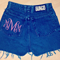Monogrammed High Waisted Jean Shorts Custom Made Preppy Initial Shorts Sorority Tumblr Hipster