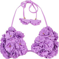 Purple 3D flower embellished bikini top