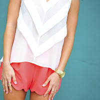 On Point Chevron Blouse: White | Hope's