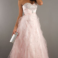 Pink Bead Organza Ball Gowns Evening Cocktail Pageant Formal Prom Long Dresses
