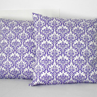 Purple Pillow Covers Damask 18 X 18 inches