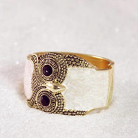 Jeweled Owl Cuff Bracelet, Women's Sweet Bohemian Jewelry