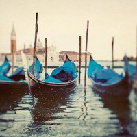 Venice Photo, Gondolas, Italy, Travel Photography, Blue, Yellow, Water, Boats - Sploosh