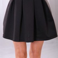 Black High Waisted A-Line Mini Skirt with Pleated Detail