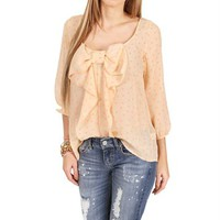 Beige/Coral  Polka Heart Bow Top