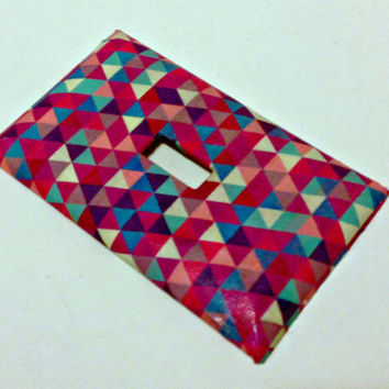 FREE SHIPPING--Single Light Switch Plate Cover--Triangle Print, Pinks, blues, purples--Geometric