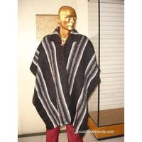 Black Striped Wool Poncho with Neck HandWoven Unisex | Ethnic Clothing:Wool Ponchos | EcuadorianHands.com