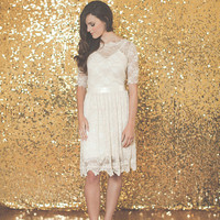 Half Sleeved Lace Wedding Dress -Ami Dress - Made to Order