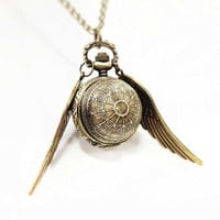 The Steampunk Snitch - Brass Pocketwatch Necklace