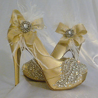 Sparkling Champagne ... champagne satin stilettos with Swarovski crystal and beaded adorned toes and Feathery flourish