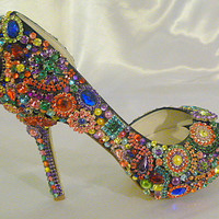 Cinderella's Rainbow ...  crystal, glass and pearl wedding shoes...  peep toes