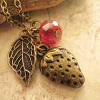 Strawberry charm necklace with leaf and by trinketsforkeeps