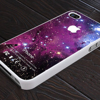 Glitters Purple GALAXY NEBULA - Apple Logo - Print On Hard Cover - For iPhone 4, 4S, and iPhone 5 Case - Black, Clear, and White