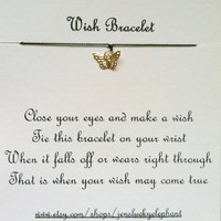 Good Luck Butterfly Wish Bracelet, Valentine's Day Gift, Best Friend Gift Idea