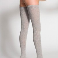 American Apparel - Heather Solid Thigh-High Socks