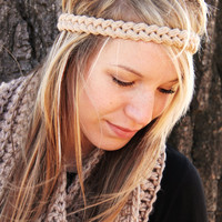 Crochet Simple Hippie Headband - Tan