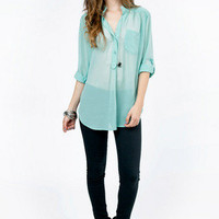 On My Tab Sleeve Blouse $32