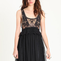 Waking Dream Crochet &amp; Tulle Dress in Black - &amp;#36;43.00 : ThreadSence.com, Your Spot For Indie Clothing &amp; Indie Urban Culture