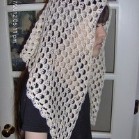 Shell Stitch Crocheted Catholic Chapel Veil in Beige
