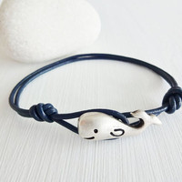 Whale Leather Bracelet - Antique Silver - Genuine Blue Leather Cord - 14 Colors Available