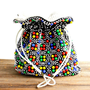Vintage Emson Beaded Reversible Purse - 1960s 1970s Colorful Black Bead Bag / Psychedelic Pouch
