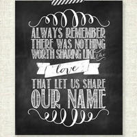 "The Avett Brothers - Always remember there was nothing worth sharing like the love that let us share our name - CHALKBOARD - 8"" x 10"" Print"