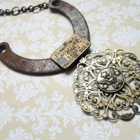 Steampunk Horseshoe Necklace by AmberIlysSteamcrafts on Etsy