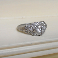 Edwardian Vintage Platinum Diamond Engagement by RiordanStudio