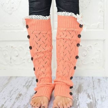 Coral Lacy Knitted Button Down Leg Warmers Boot Cuffs (LWK1) with Crochet Trim Button Up LegWarmers