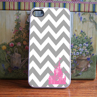 White and Grey Chevron with pink castle - iPhone 4S and iPhone 4 Case Cover