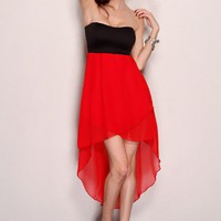 Red Black Strapless Sweetheart Tow Tone High Low Hem Sexy Party Dress @ Amiclubwear sexy dresses,sexy dress,prom dress,summer dress,spring dress,prom gowns,teens dresses,sexy party wear,women's cocktail dresses,ball dresses,sun dresses,trendy dresses,swea