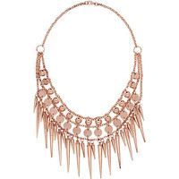 Rose gold tone statement short spike necklace