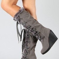 Fedel-03 Fur Lace Up Knee High Wedge Boot