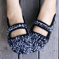 Crochet Mary Jane Slippers In Black And White, Women, House Shoes | Luulla