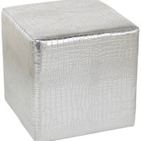 Silver Faux Leather 14 1/2-Inch-H Square Ottoman - EuroStyleLighting.com