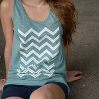 Tank Top  Light Green with White Chevron by littleminnowdesigns