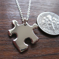 Miniature Silver Puzzle Piece Pendant Necklace