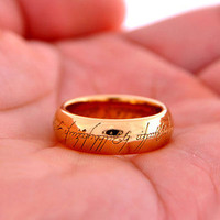 Nice LORD OF THE RINGS 24K Gold Plated Ring With Chain Multi-size