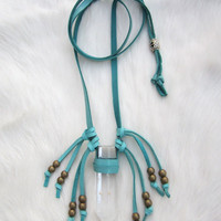 Quartz Crystal Necklace. Turquoise Leather Necklace. Leather Fringe Necklace. Leather Wrapped Crystal.