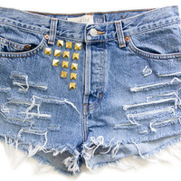 Studded Shorts, Vintage Distressed High Waisted Denim W31