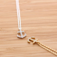 simple ANCHOR necklace with crystals, 2 colors | girlsluv.it