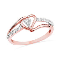 Diamond Accent Heart Promise Ring in 10K Rose Gold - View All Rings - Zales