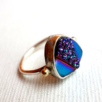 Handmade Art Deco Iridescent Drusy Ring in by RachelPfefferDesigns