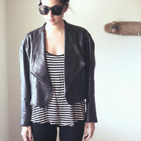 Black Leather Motorcycle Bomber Zipper Jacket - Biz