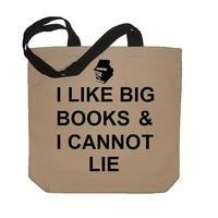 I Like Big Books And I Cannot Lie Funny Cotton Canvas Tote Bag - Eco Friendly in Natural / Black