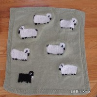 Sheep Hand Knitted Small Lap/Car Seat Blanket