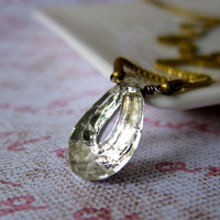 Dew Drop necklace - rare vintage crystal / brass box chain (limited edition)