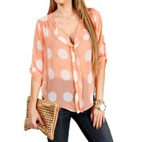 Pink Polka Dot Sheer Top