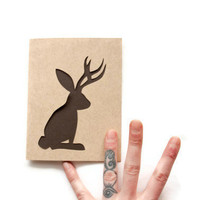 JACKALOPE Note Card EASTER BUNNY