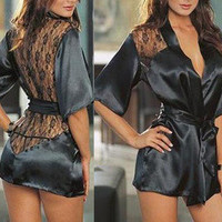 Sexy Satin Lace Lingerie Sleepwear Nightdress Robe J